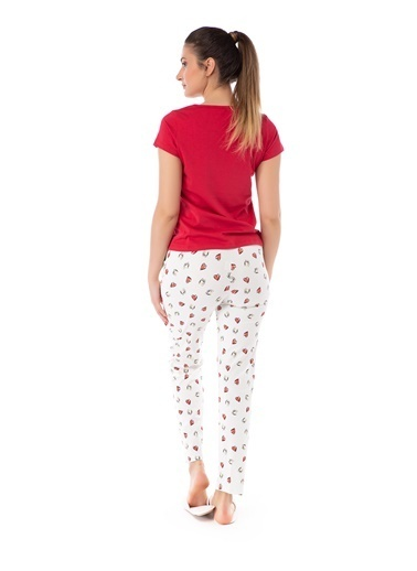 Pamuk & Pamuk Kalp Desenli Kadın Pijama Takımı Renkli